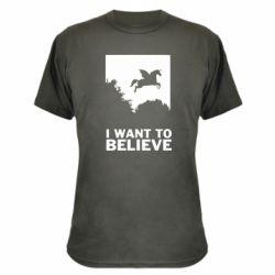 Камуфляжна футболка Хочу вірити в єдинорогів