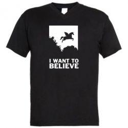 Чоловіча футболка з V-подібним вирізом Хочу вірити в єдинорогів