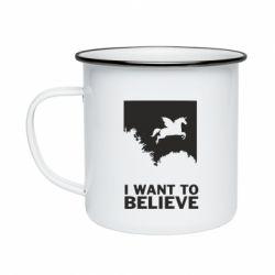 Кружка емальована Хочу вірити в єдинорогів