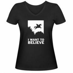 Жіноча футболка з V-подібним вирізом Хочу вірити в єдинорогів