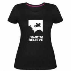 Жіноча стрейчева футболка Хочу вірити в єдинорогів