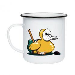 Кружка емальована Hockey duck