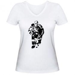 Женская футболка с V-образным вырезом Хоккеисты - FatLine