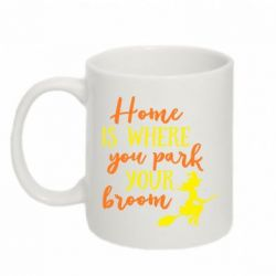 Кружка 320ml Home is where you park your broom