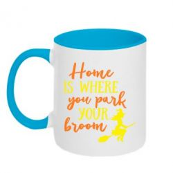 Кружка двоколірна 320ml Home is where you park your broom