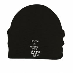 Шапка на флисе Home is where your Cat is!