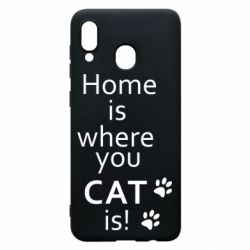 Чехол для Samsung A20 Home is where your Cat is!