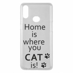 Чехол для Samsung A10s Home is where your Cat is!