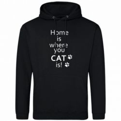 Мужская толстовка Home is where your Cat is!