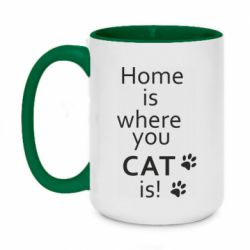 Кружка двухцветная 420ml Home is where your Cat is!
