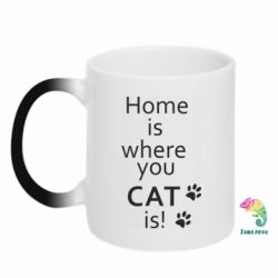 Кружка-хамелеон Home is where your Cat is!