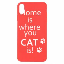Чехол для iPhone X/Xs Home is where your Cat is!