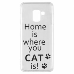 Чехол для Samsung A8 2018 Home is where your Cat is!