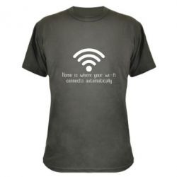 Камуфляжна футболка Home is where your wifi connects automatically
