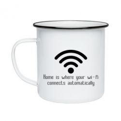 Кружка емальована Home is where your wifi connects automatically