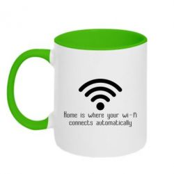 Кружка двоколірна 320ml Home is where your wifi connects automatically