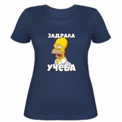Жіноча футболка Homer is tired of studying