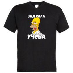 Чоловіча футболка з V-подібним вирізом Homer is tired of studying
