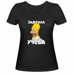 Жіноча футболка з V-подібним вирізом Homer is tired of studying