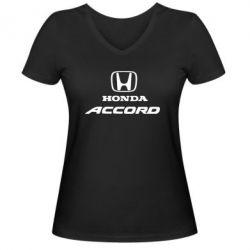 Женская футболка с V-образным вырезом Honda Accord - FatLine
