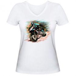 Женская футболка с V-образным вырезом Honda art 2