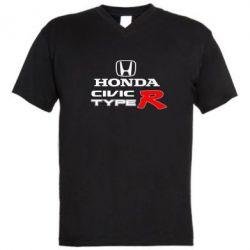 Мужская футболка  с V-образным вырезом Honda Civic Type R - FatLine