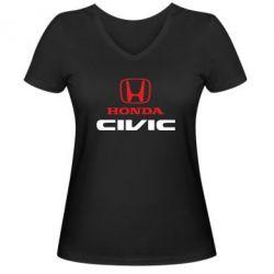 Женская футболка с V-образным вырезом Honda Civic - FatLine