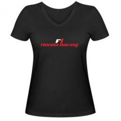 Женская футболка с V-образным вырезом Honda F1 Racing
