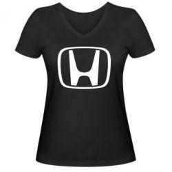 Женская футболка с V-образным вырезом Honda Logo - FatLine