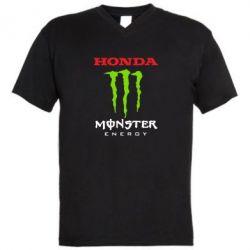 Мужская футболка  с V-образным вырезом Honda Monster Energy - FatLine