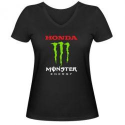 Женская футболка с V-образным вырезом Honda Monster Energy