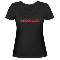 Женская футболка с V-образным вырезом Honda надпись - FatLine