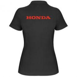 Женская футболка поло Honda надпись - FatLine