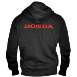 Мужская толстовка на молнии Honda надпись - FatLine
