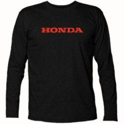 Футболка с длинным рукавом Honda надпись - FatLine