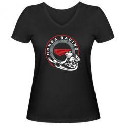 Женская футболка с V-образным вырезом Honda Racing - FatLine