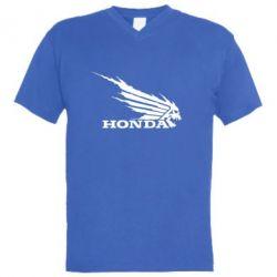 Мужская футболка  с V-образным вырезом Honda Skelet - FatLine