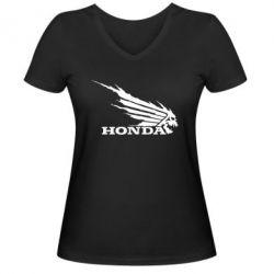 Женская футболка с V-образным вырезом Honda Skelet - FatLine
