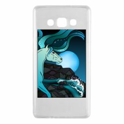 Чехол для Samsung A7 2015 Horse against the background of the moon