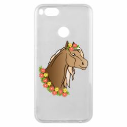 Чехол для Xiaomi Mi A1 Horse and flowers art