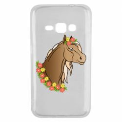 Чехол для Samsung J1 2016 Horse and flowers art