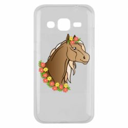 Чехол для Samsung J2 2015 Horse and flowers art