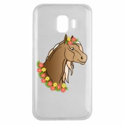 Чехол для Samsung J2 2018 Horse and flowers art