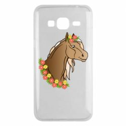 Чехол для Samsung J3 2016 Horse and flowers art