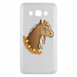 Чехол для Samsung J5 2016 Horse and flowers art