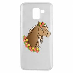 Чехол для Samsung J6 Horse and flowers art