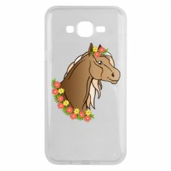 Чехол для Samsung J7 2015 Horse and flowers art