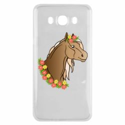 Чехол для Samsung J7 2016 Horse and flowers art