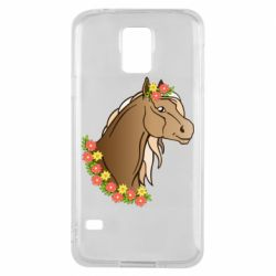 Чехол для Samsung S5 Horse and flowers art