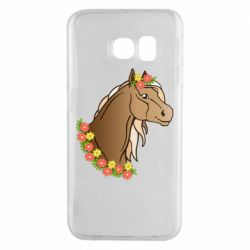 Чехол для Samsung S6 EDGE Horse and flowers art